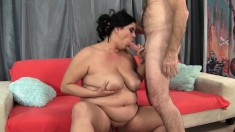 Chunky housewife delivers a hot blowjob and then enjoys a deep fucking