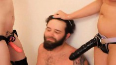 Kinky biker dude gets deeply double pegged by a blonde and a brunette