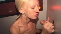 Cute Blonde Country Girl With Tiny Tits Fulfills Her Gloryhole Fantasy