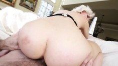 Hot blonde shows off her ass, gobbles down his prick and fucks