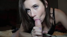 Pov blowjob from whore sucking cock and giving handjob