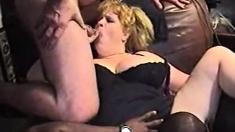 Fat Blonde Interracial Gangbang