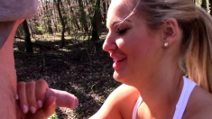 Blonde with big boobs fucked outdoor