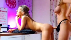 Strapon Sensual Lesbian Action Using Strapon Sex Toys