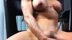 Big boobs Mandy May gagged and masturbation