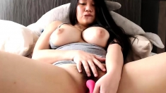 Teen With Big Boobs Diddles Her Hairy Black Bush