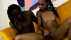 Naughty ebony Misty Stone takes off her bikini and gets kinky