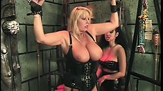 Big tit blonde gets her nipples clipped and is tied up, made to lick tits