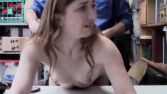 Caught masturbating outside and fucked watching her