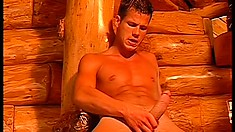 These gay guys sit around the cabin and beat their meat for each other