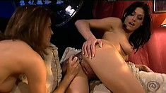 These hot honeys end their work day with some lesbian pussy action