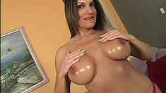 Nasty big fake tit Milf poses and does everything else except ass fuck