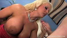 Big breasted blonde mom has her daughter's boyfriend fucking her peach