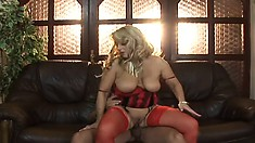 Sexy mature babe Monika gives his young dick head and lets him pound her