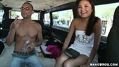 Little Asian cutie goes for a ride and he tries to loosen her up
