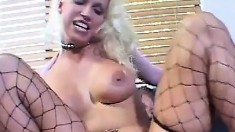 Nikki Hunter shoves a cock down her throat before it punishes her holes