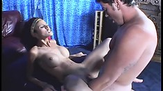 Sexy genie pops in for some head and to have both her holes dicked