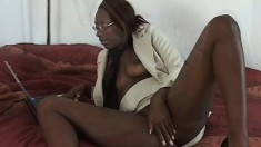 Skinny ebony geek rubs her snatch and gets smacked by his big black dick