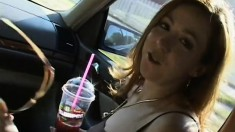 Nasty amateur redhead agrees to an anal creampie after her chocolate shake